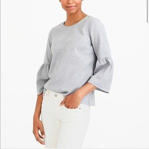 J Crew Mercantile Gray 100% Cotton Bell Sleeve Top